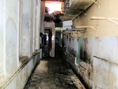 The corridor which is to become a laundry