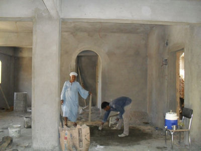 The plasterers move in